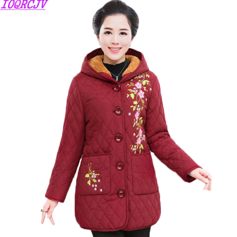 Winter Jackets Coats New Fashion Embroidery Hooded Warm Cotton-padded   Parkas   Middle-aged Mother Clothing Plus Size 6XL Women A41