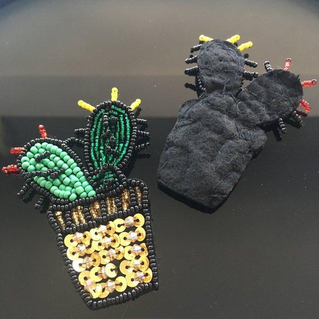 4 Pcs Handmade Cactus Rhinestone Applique Patches