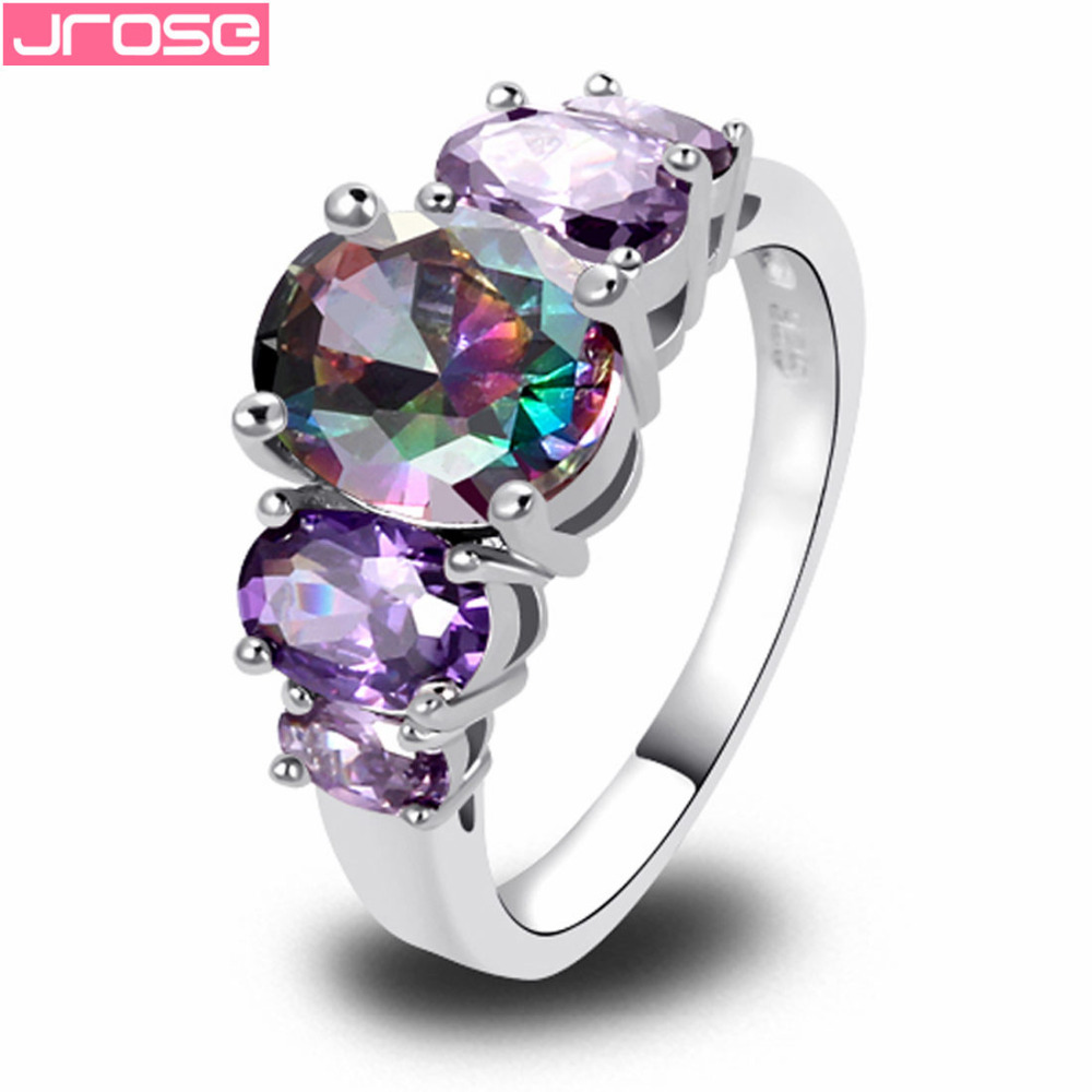 JROSE Women Fashion Mysterious Purple Rainbow CZ Silver Plated Ring Size 6789 10 11 12 13 Engagement smycken Partihandel nya gåvor