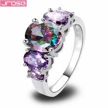 Женское посеребренное кольцо jrose с фиолетовым радужным кубическим