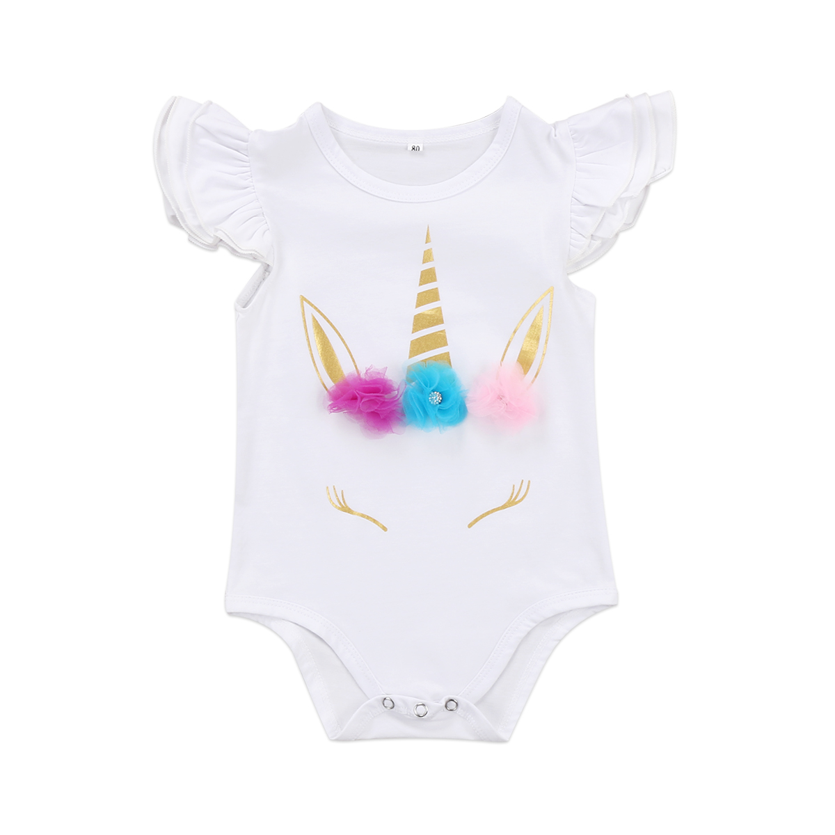 Fashion 2018 Unicorn Newborn Infant Baby Girl Ruffles   Romper   Jumpsuit Outfit Sunsuit Clothes