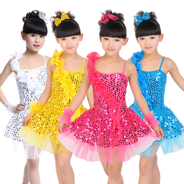 0d00ed20c 5pcs lot Free Shipping Sequin Kids Ballroom Dress Stage Competition ...