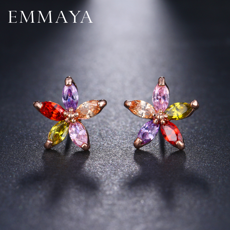 EMMAYA Multicolor Stones CZ Earrings For Womens Flower Cubic Zirconia Crystal Rose Gold Color Studs Earings