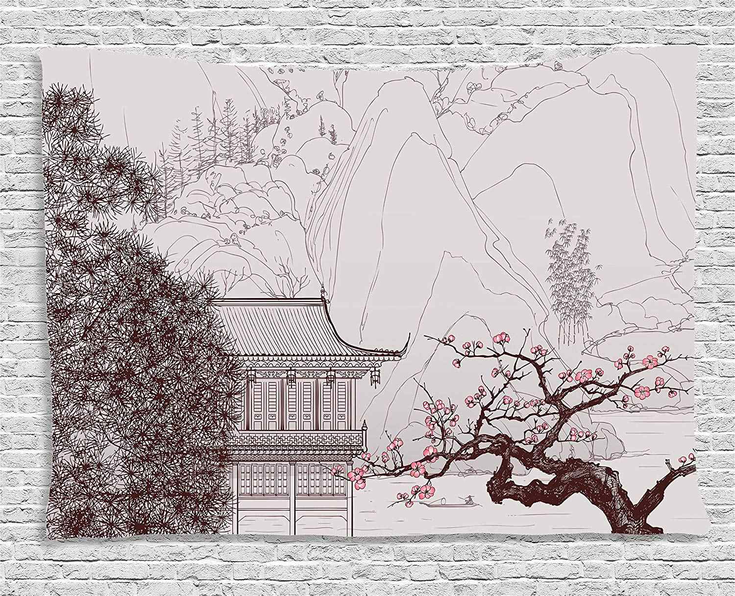 Asian Tapestry Chinese Religion Temple Sakura Trees and Mountain Forms Pagoda Eastern Artwork Print Wall Hanging Pink Brown