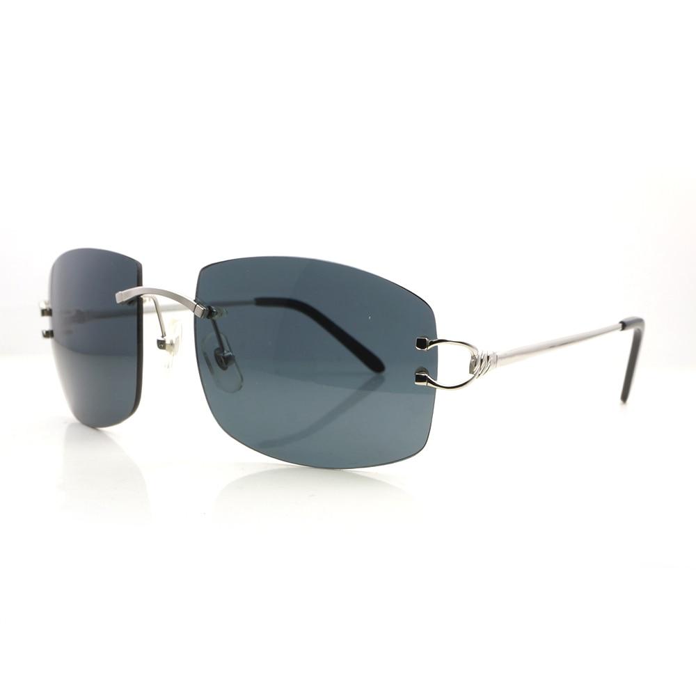Metal brand designer sunglass for men rimless frames aviator sunglasses mens Carter glasses frame vintage sun glass shades 175