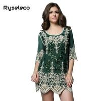 New Women 2015 Summer Autumn Vintage Plus Size Heart Embroidery Sequins Paillette Short Mini Party Dresses