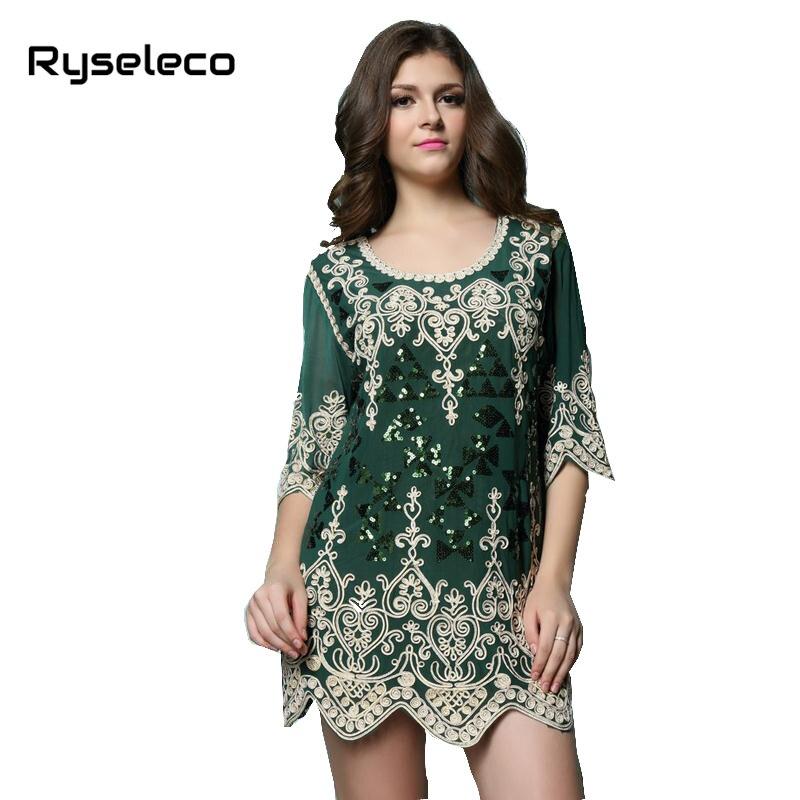 New Women 2017 Summer Autumn Vintage Plus size Heart Embroidery Sequins Paillette Short Mini Party Dresses Muslim Vestidos Green