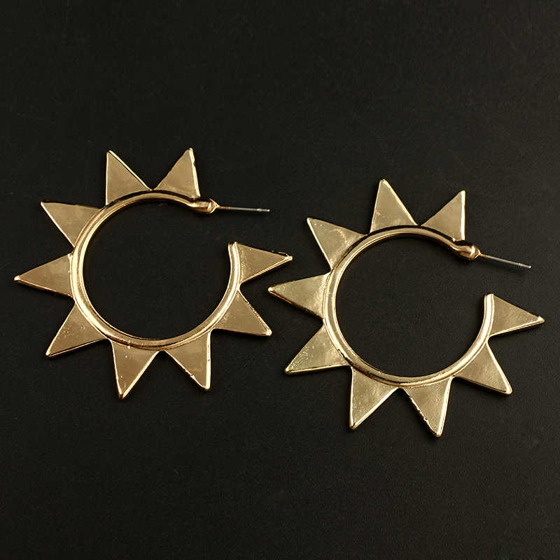 067acaf7d ... docona Punk Gold Color Sun Metal Stud Earring for Women Abstract Circle  Geometric Piercing Studs Earrings ...