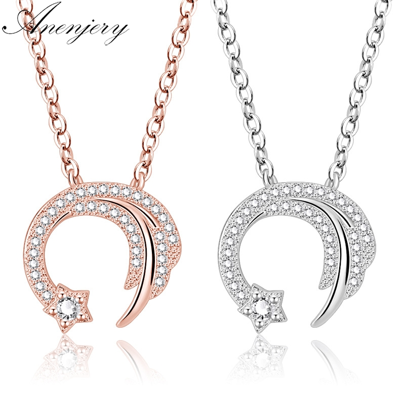 Chain Necklaces Anenjery 925 Sterling Silver Meteor Love Star Zircon Necklace Women Clavicle Chain Choker Collier S-n346