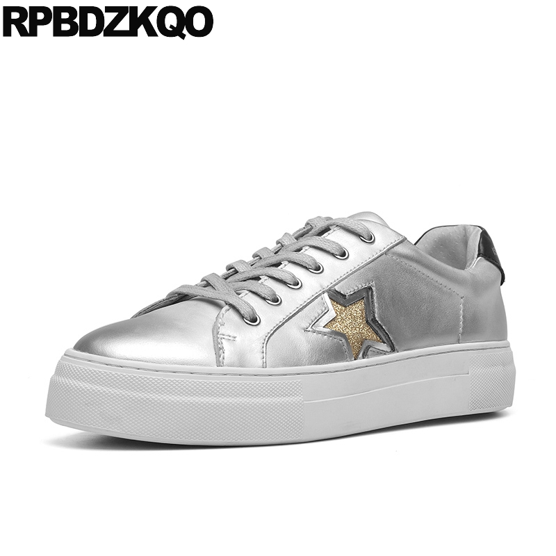 sneakers designer shoes women luxury 2018 flats sequin genuine leather korean lace up silver metallic glitter star trainers sequin embroidered zip up jacket