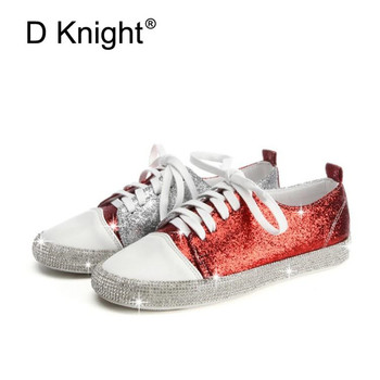 2019 Autumn women sneakers oxford shoes flats shoes women bling crystal lace up boat shoes round toe flats moccasins big size 44