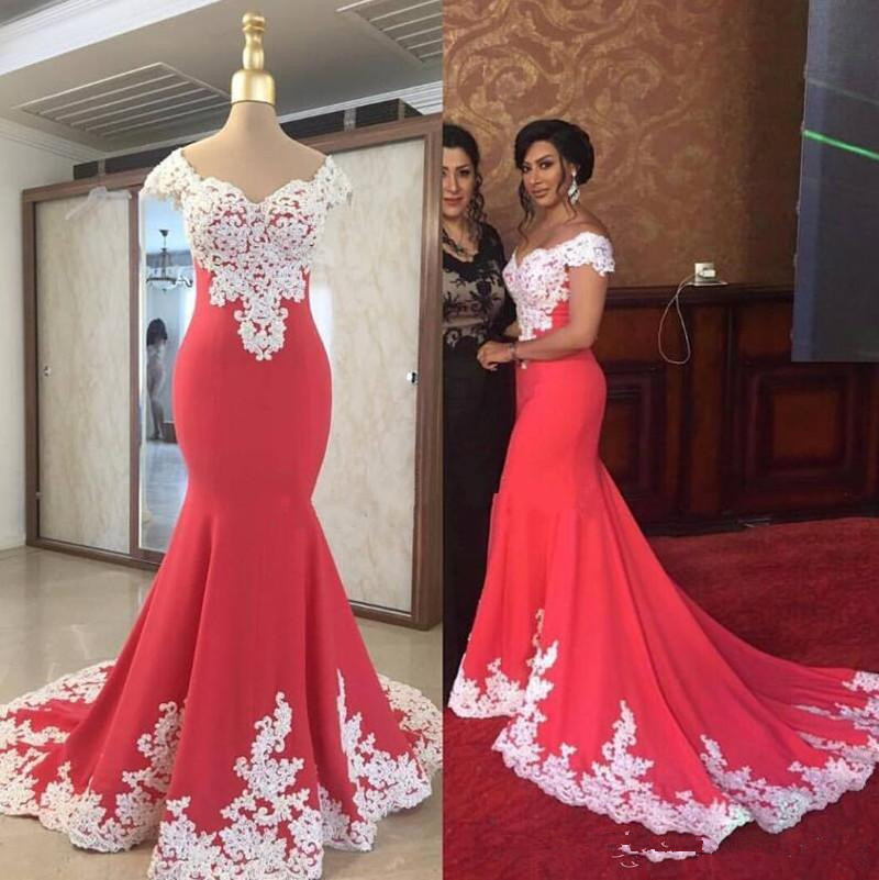 Junoesque Mermaid Evening Gown White Lace V Neck   Prom     Dresses   Sweep Train Party Gowns Cheap Price Trumpet   Dress   Custom