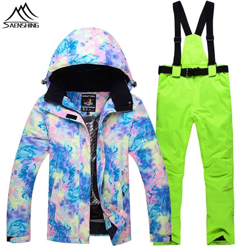 SAENSHING 2018 Winter Ski Suit Women Waterproof Ski Jacket Snowboard Pants Super Warm Breathable Outdoor Mountain Skiing Suits