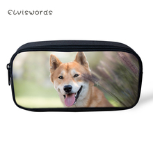 ELVISWORDS Kawaii Animal Kids Pencil Case Cute Shiba Inu Dogs Pattern Students Stationery Box School Pen Bags Womens Beautician