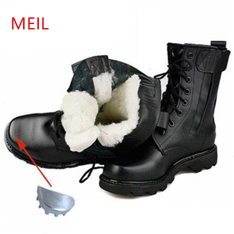 Men Winter Steel Toe Safety Boots Leather Military Boots Russian Warmest Natural Wool Men Snow Boots Motorcycle Boots