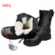 hot deal buy men winter steel toe safety boots leather military boots russian warmest natural wool men snow boots motorcycle boots