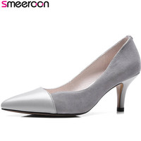 Smeeroon 2018 hot sale women pumps spring summer ladies shoes pointed toe thin high heels party wedding shoes woman black gray