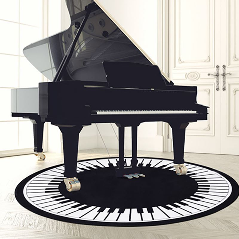 Originality Piano Key Round Carpets For Living Room Home Area Rugs Kids Room Computer Chair Floor Mat For Bedroom Cartoon Carpet