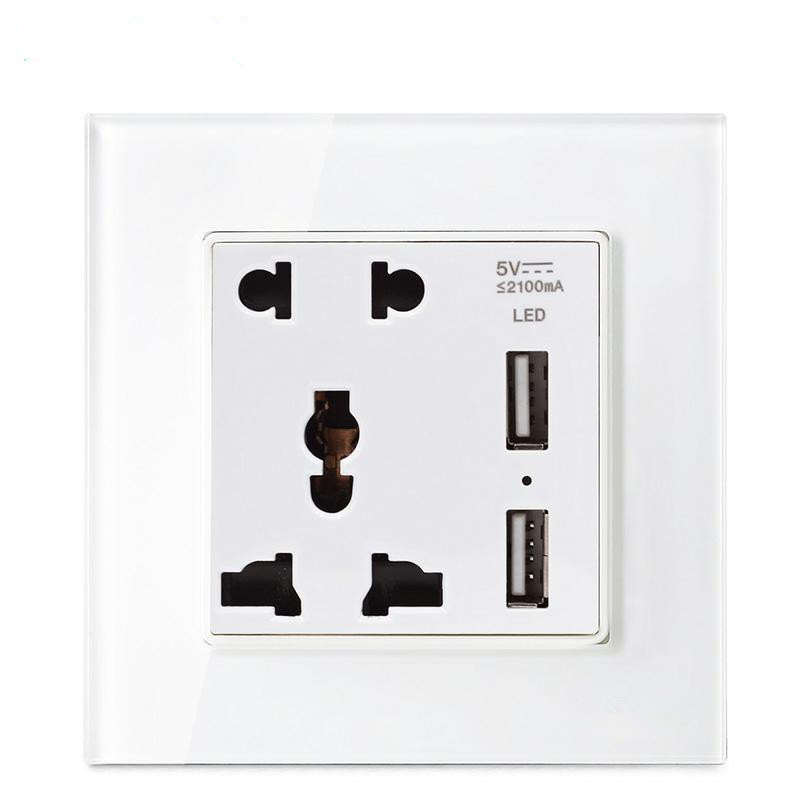 EU/UK/US Standard USB Wall Electrical Sockets 110-250V 10A USB 5V 2100mA White Crystal Glass Panel Wall Power Socket uk standard 1 gang socket with 2 usb chargering 3 pin white glass panel wall socket and 2100ma usb wall plug outlet
