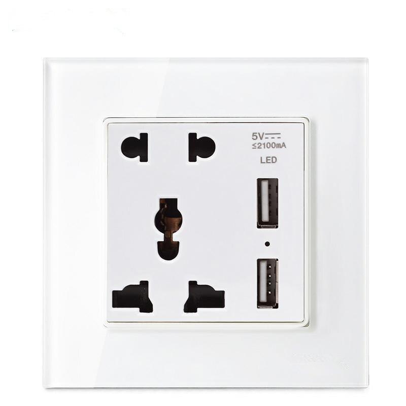 цена на EU/UK/US Standard USB Wall Electrical Sockets 110-250V 16A USB 5V 2100mA White Crystal Glass Panel Wall Power Socket