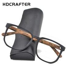 HDCRAFTER Vrouwen Mannen Vintage Retro Hout Brilmontuur Oversized Optische Eyaglasses Frames voor Recept Lens Bril