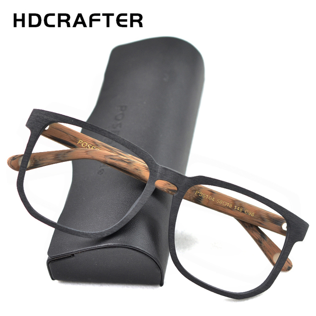 HDCRAFTER Women Men Vintage Retro Wood Glasses Frame Oversized Optical Eyaglasses Frames for Prescription Lens Spectacles
