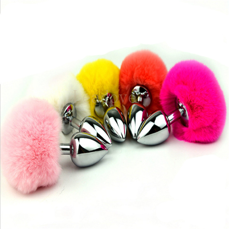 Small Size Metal Rabbit Tail Anal Plug 10 Color Butt Plug -3107