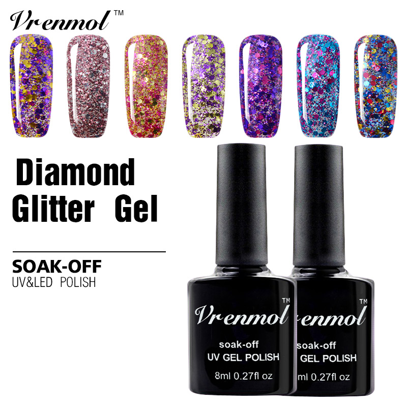 Online Shop Vrenmol 8ml Pink Color Glitter Gel Nail Polish Soak Off ...