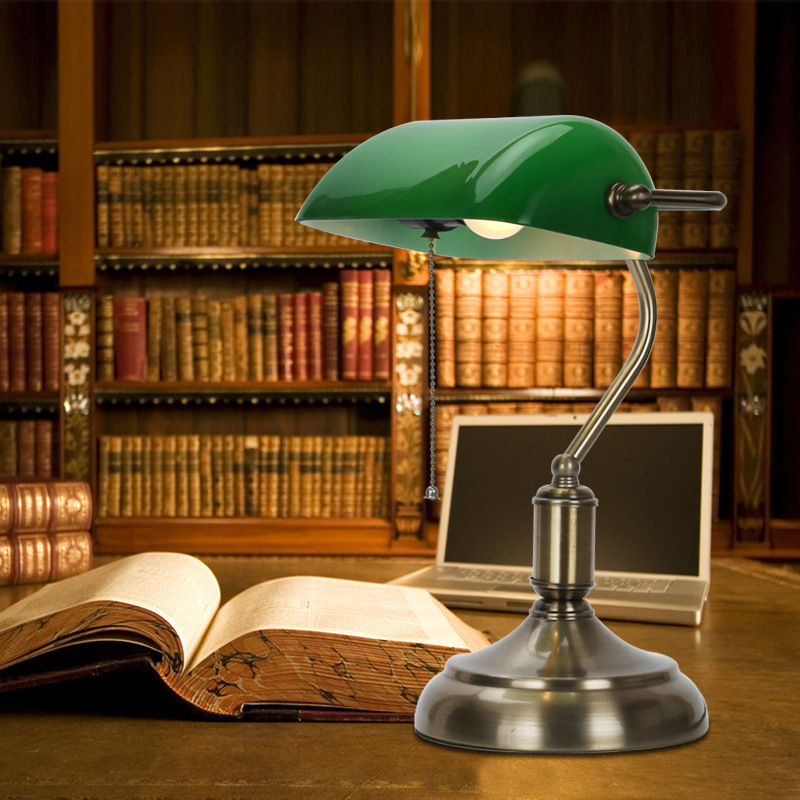 Retro Vintage Table Lamp Emerald Green Glass Lamp Shade Bronze ...