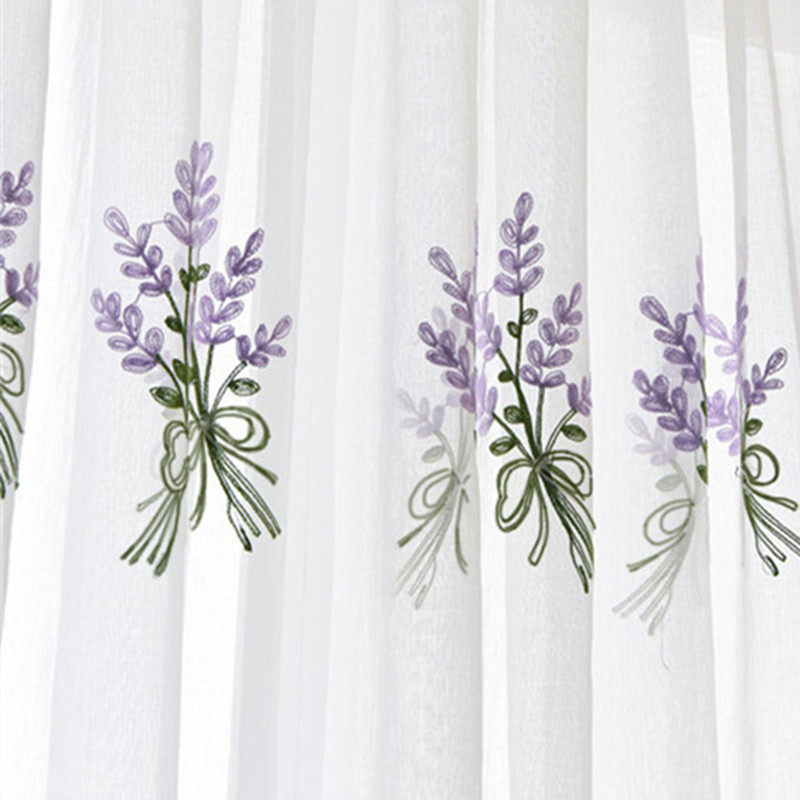Embroidery Lavend Tulle Curtains For Living Room Red Purple