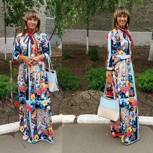 Image 4 - 활주로 맥시 드레스 2019 여성 고품질의 활 목 빈티지 동물 인쇄 층 길이 긴 파티 드레스 vestidos 가운 femme