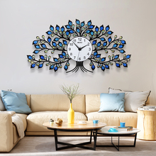 2019 Creative Blue Yellow Crystal Tree Large Wall Clock Modern Design Silent Home Decorative Unique Hanging Clocks Free Shipping