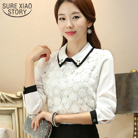 2017 Fashion Women Tops Women Clothing Plus Size Spring New Doll Collar Lace Shirt Casual Lady
