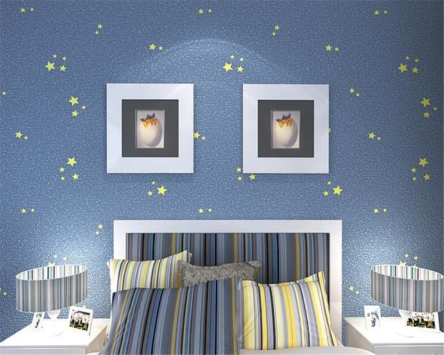 Papel De Parede Children Mediterranean Blue Stars Wallpaper Boys S Bedroom Wall Papers Home Decor