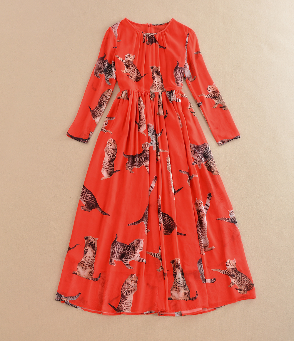 2016 new red dress elegant autumn printed long sleeve great long dress