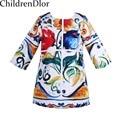 Girls Winter Dresses Long Sleeve Children Dress with Majalica Print Straight Toddler Girl Dresses Kids Clothes Vetement Fille