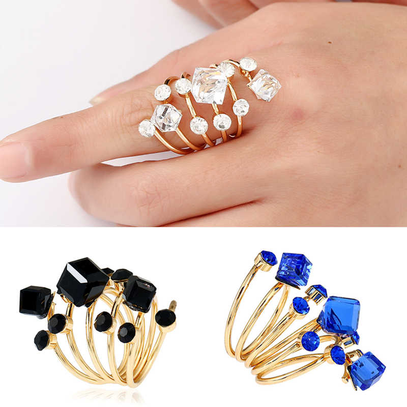 New Crystal Zircon Women Rings Exaggerated Long Spring Adjustable Rings Black Blue White Rhinestone Jewelry wholesale Bague