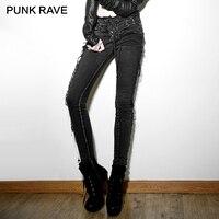 PUNK RAVE Punk Rock Vintage Wash Cena Elástico Pantalones Vaqueros Femeninos Lápiz Pantalones de Las Mujeres Flacas Ripped Negro Ropa Vaquera