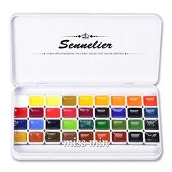 Feito à mão frança sennelier watercolor 12 cores 36 pacote de caixa ferro viagem 0.8ml mini pacote dispensação placa