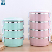 Anti-leakage Non-magnetic Stainless Steel Plastic Lunch Box Round Sealed Insulated Storage Portable Food Container Picnic School