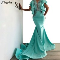 Newest Dubai Mermaid Celebrity Dresses 2019 Long Crystals Court Train Couture Red Carpet Dress Evening Prom Party Gowns Custom