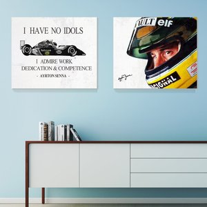 2 IN 1 F1 AYRTON SENNA Poster Canvas art painting Home decor Wall pictures for living room Unframed