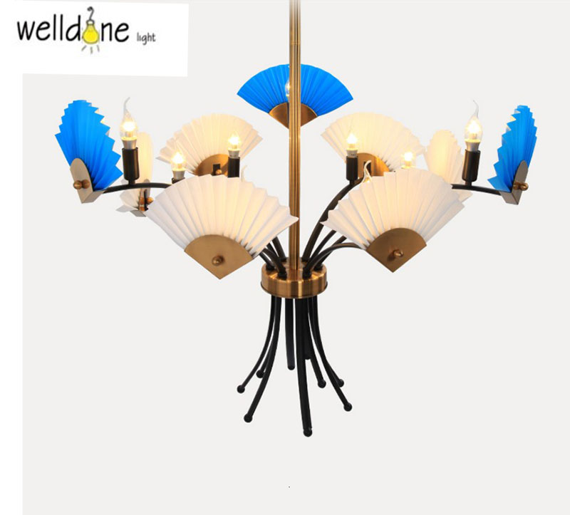 Modern Creative pendent Lamp Fan Shape Luxury blue /white Bedroom Corridor Sitting Room PP AND METAL Chinese style