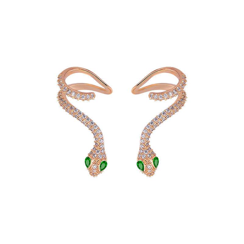 4d8981fa0 High Quality Woman Elegant Rhinestone Snake AAA Cubic Zirconia Gold Color  Luxury Stud Earrings GLE6137