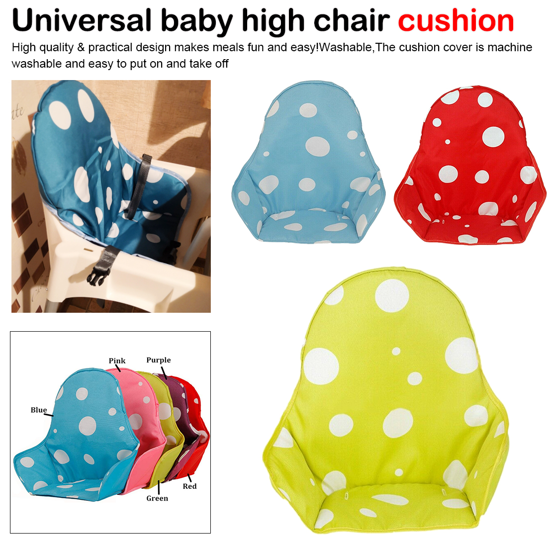 1PC Baby Kids Children High Chair Cushion Cover Booster Mats Pads Feeding Chair Cushion Stroller Seat Cushion