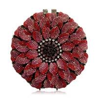 Gold Rose Flower Shape Luxury Evening Bags Crystal Clutch Bag Women Wedding Pochette Bride Handcraft Soiree