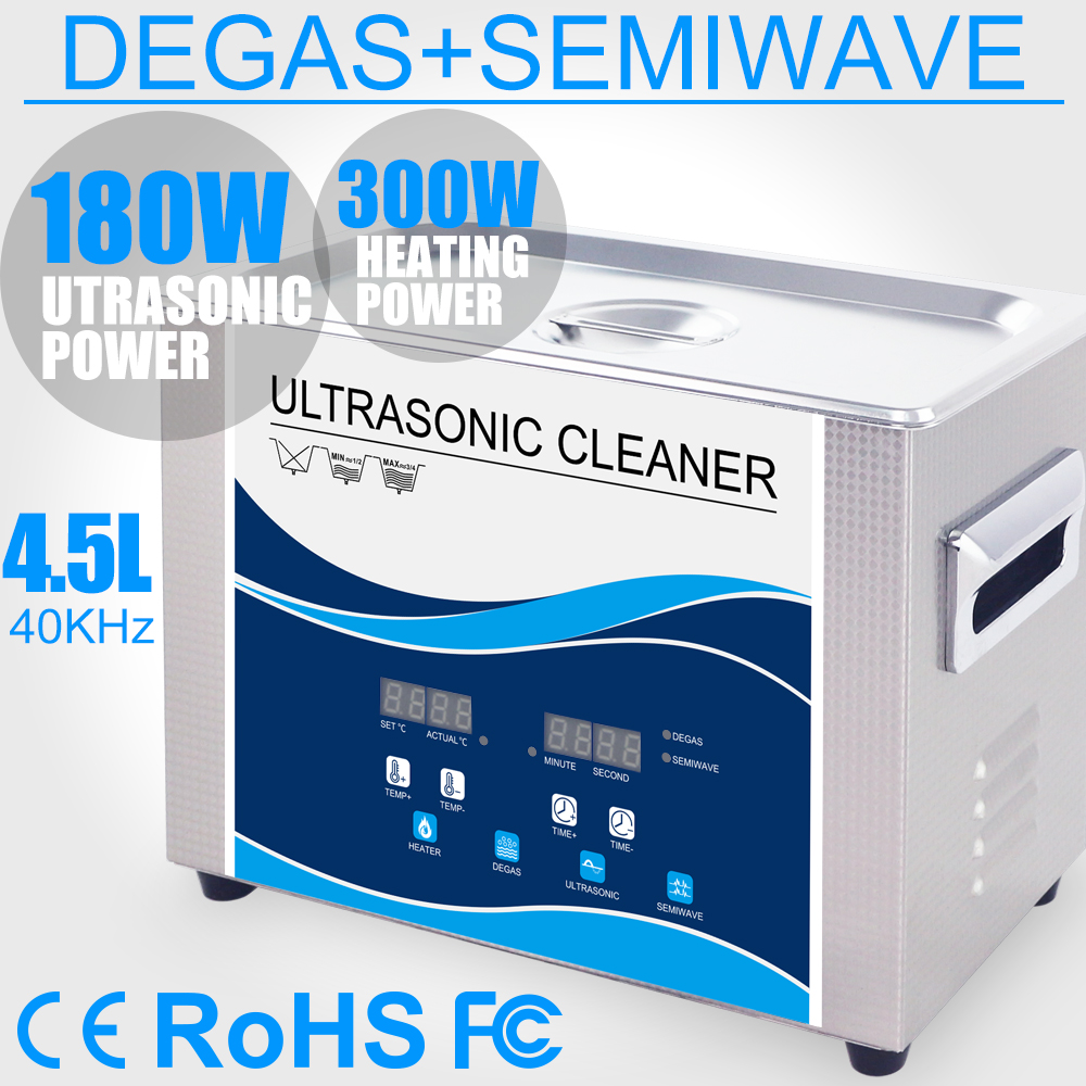 4.5L Ultrasonic Cleaner 110V/220V 180W Degas Heater Ultrasonic Bath Sterilizer Remove Oil Rust Filter Watches Chain Lab Dental