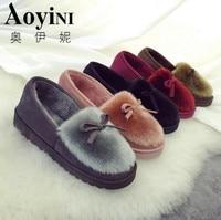New 2016 Women Snow Boots Thick Plush Winter Warm Shoes Fashion Slip On Flat Waterproof Women