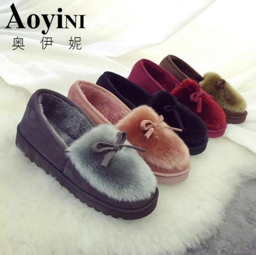 New 2016 women snow boots thick plush winter warm shoes fashion slip on flat waterproof women ankle boots cotton-padded shoes