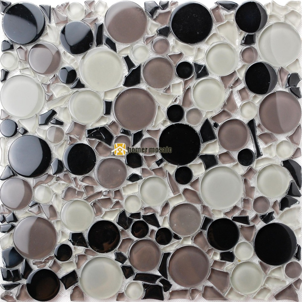 white gray mixed black color big and small round crystal glass mosaic kitchen backsplash bathroom shower tiles fireplace HMB1221
